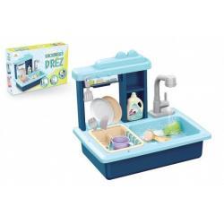 Dřez na mytí nádobí modrý + kohoutek na vodu na baterie plast s doplňky v krabici 46x28x12cm