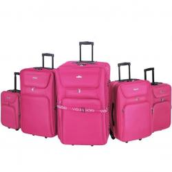 Sada cestovních kufrů na kolečkách, 5-dílná, růžová