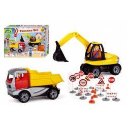 Truckies set stavba plast stavební stroje s figurkami s doplňky v krabici 38x28x10cm 24m+