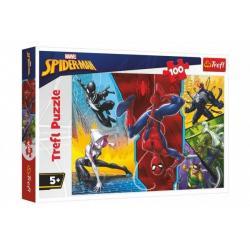 Puzzle Spiderman Marvel - Vzhůru nohama 100 dílků 41x27,5cm v krabici 29x19x4cm