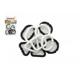 Plastové tvary pro dětský řetízek - černobílé