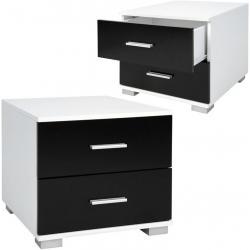 Sada nočních stolků, 2 kusy, černobílé, 40 x 40 x 35 cm
