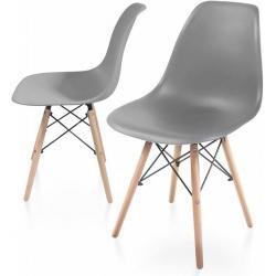 Sada jídelních židlí s plastovým sedákem, 2 kusy, šedé