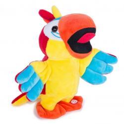Mluvící papoušek z plyše, opakuje, hraje hudbu a tančí