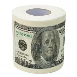 Důmyslný zábavný toaletní papír s bankovkami 100 dolarů