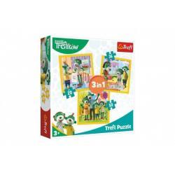 Puzzle 3v1 Rodina Treflíků  v krabici 28 x 28 x 6 cm