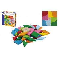 Mozaika barevná dřevěná 49 ks v krabici 20 x 20 x 4 cm