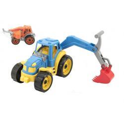 Traktor se lžící plast 16 x 24 cm, 2 barvy v síťce