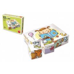 Kostky kubus Hezký den dřevo 12 ks v krabičce
