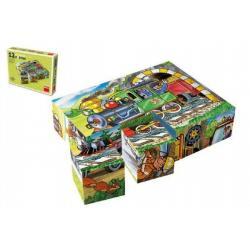 Kostky kubus Mašinka dřevo 12 ks v krabičce 16 x 12 x 4 cm