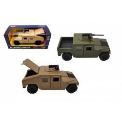 Auto vojenské kov/plast 12 cm na zpětné natažení 2 barvy