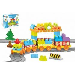 Baby Blocks vlak s kolejemi a stavebnicí plast s doplňky