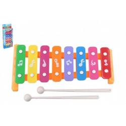 Xylofon 26cm kov/plast + 2 paličky 3 barvy v krabici