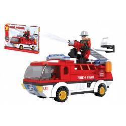 Kostky stavebnice Dromader auto hasiči 192 dílků v krabici