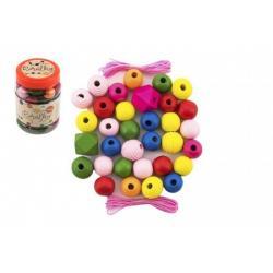 Korálky dřevěné barevné MAXI s gumičkami 54 ks 11 x 7 cm