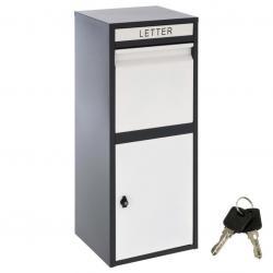 Stojanová poštovní schránka KIM, černo-bílá, ocel, 2 klíče
