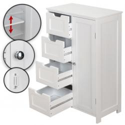 Miadomodo Úložná skříňka se 4 šuplíky 55x30x82 cm - bílá