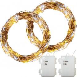 Sada 2 ks světelných drátů 100 LED teplá/studená bílá