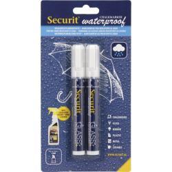 Křídový popisovač Securit SMA610 voděodolný šířka hrotu 2-6mm, White, 2ks