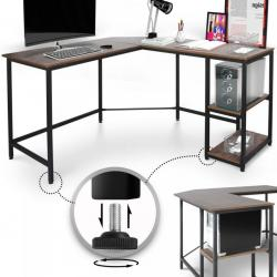 MIADOMODO Psací stůl 138 x 138 x 76 cm, hnědá/černá