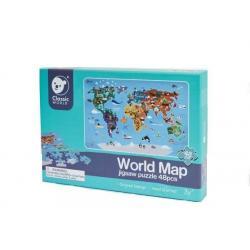 Teddies Dřevěné puzzle Mapa světa, 48 dílků, 38 x 57 cm