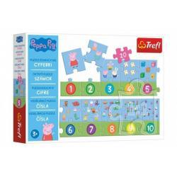 Teddies Vzdělávací puzzle Prasátko Peppa, čísla, 20 dílků