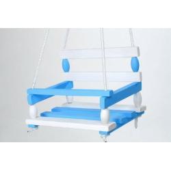 Houpačka dřevo bílo modrá 38x30cm nosnost 80kg v sáčku