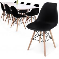 MIADOMODO Sada 8 jídelních židlí s plastovým sedákem, černé