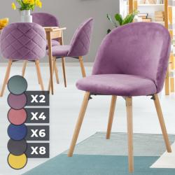 MIADOMODO Sada jídelních židlí sametové, fialové, 4 ks