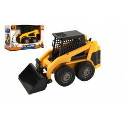 Stavební stroj nakladač plast 23cm na setrvačník v krabici 25x16x11cm