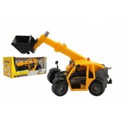 Stavební stroj nakladač plast 32cm na volný běh v krabici 37x16x17cm