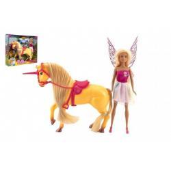 Jednorožec kůň česací plast se sedlem s panenkou vílou v krabici 39x33x9cm