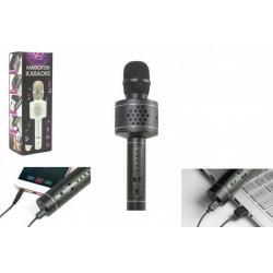 Mikrofon Karaoke Bluetooth černý na baterie s USB kabelem v krabici 10x28x8,5cm