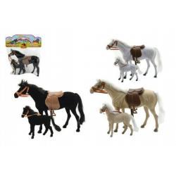 Kůň 27cm s hříbětem 13cm fliška 2ks  3 barvy v sáčku