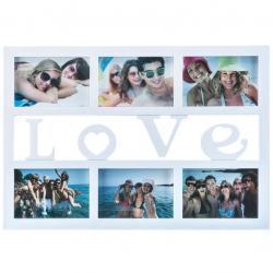 Fotorámeček Love na 6 fotografií, bílá, 50 x 33 cm