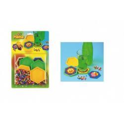 Zažehlovací korálky Hama MIDI barevné 900ks s podšálky na kartě 20x29,5x2cm